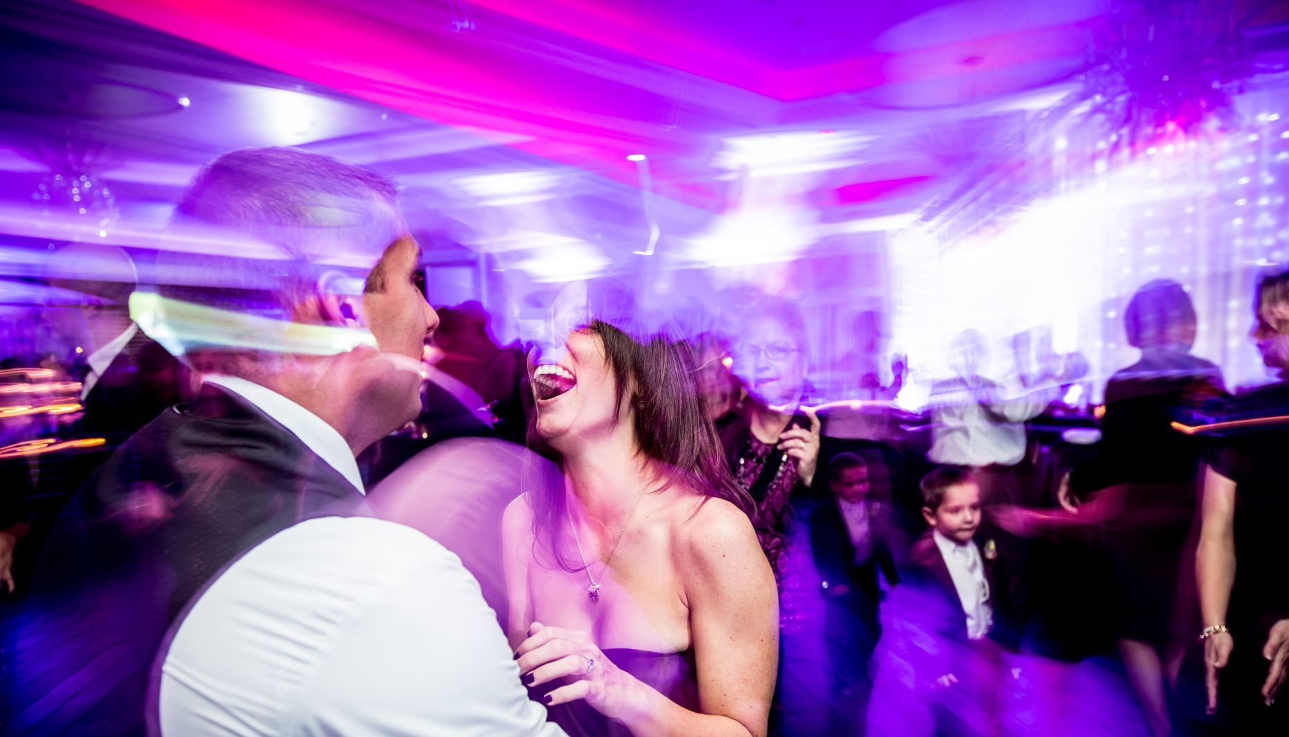 With our lighting packages, we can transform and electrify your reception and dance floor