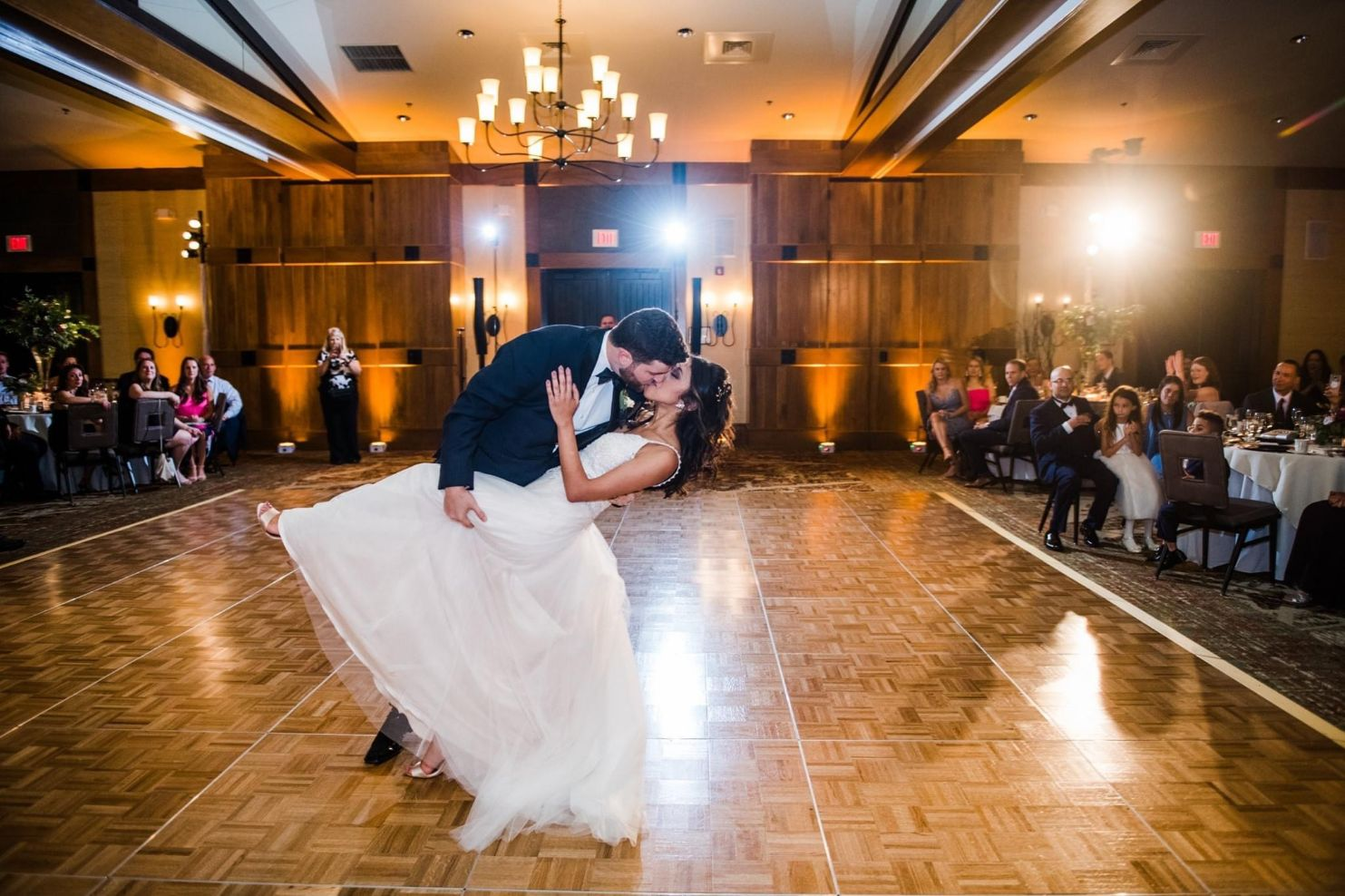 Couple kissing during first dance with Poconos Wedding DJ Skuba Entertainment