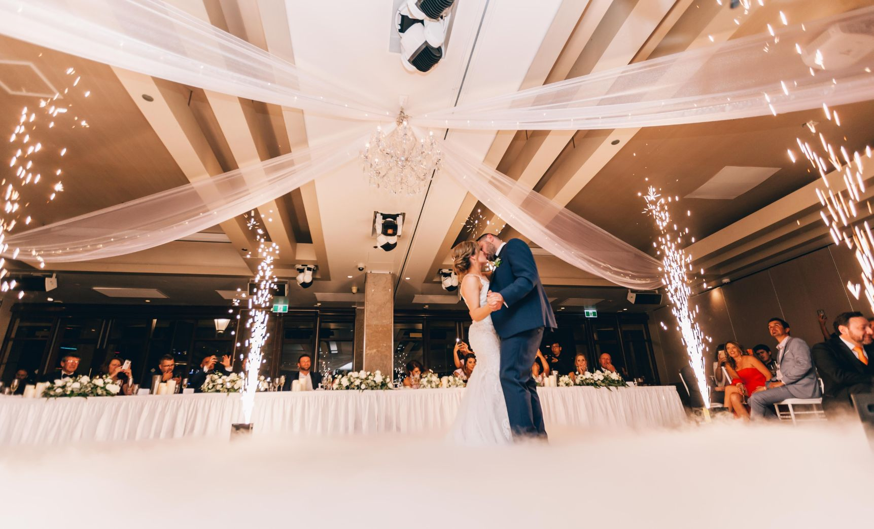 Dancing on the clouds & dazzle effect during wedding first dance