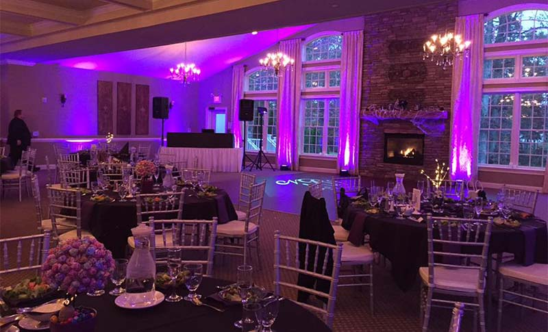 Ambiance lighting to give character and desired atmosphere of your wedding reception or event